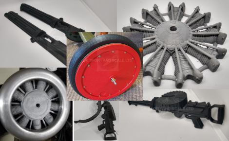 3d Printed Engines , Guns and Wheels